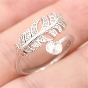 Considerável boca aberta pérola monta anel de prata banhado a mulheres anéis fino tamanho de jóias DIY ajustável fácil para a montagem de boa qualidade