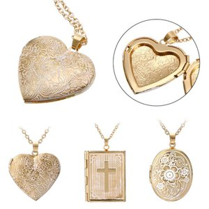 Beautifully Carved Photo Box Geometric Love Heart Round Pendant Necklace Charms Gold Classic Chain Couple Memorial Jewelry Gifts