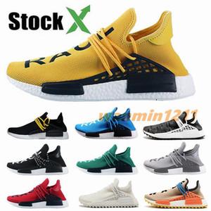 Nouveau NMD Hommes Femmes Paquet blanc race humaine solaire jaune Pharrell Williams Oreo OG Vert Stock X Marque Chaussures de course de sport chaussures de sport