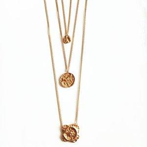 Colliers de foulard baroque Coin Disc Pendant Pendentif Collier de chaîne en couches pour les femmes
