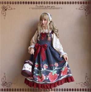 Tatlı Bow Lolita JSK Baskı Çilek Büyük Beden Lolita Prenses Elbise Vintage İmparatorluğu Diz Boyu Retro vestidos Faldas