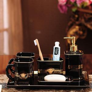 Banyo Aksesuarları Seti Seramik Sabunluk Sabunluk Diş Fırçası Tutucu Gargara Kupası Avrupa Tarzı Banyo Takım Wedding hediyeleri