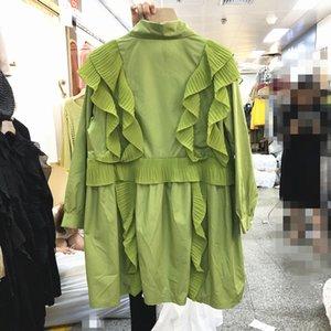 [EWQ] 2020 İlkbahar Sonbahar Yeni Turn-aşağı Yaka Patchwork Ruffles Kadınlar Beyaz Gömlek Kore Style Plus Size Kadınlar Bluz QZ959 Tops