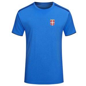 Sırbistan erkek T-shirt moda trendi t-shirt futbol forması kısa kollu tişört erkek spor futbol polo gömlek baskı erkek T-shirt