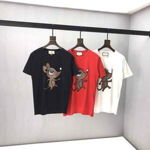 das mulheres T-shirt Designer rato pequeno impresso de manga curta T-shirt de algodão de alta qualidade Estilo dos homens e mulheres Traduzidos Europeia