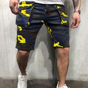 E-BAIHUI Hombres Trajes 2019 Verano Pantalones cortos ocasionales de camuflaje sueltos multibolsillos para hombre pantalones al aire libre pantalones cortos de diseñador de la marca L622