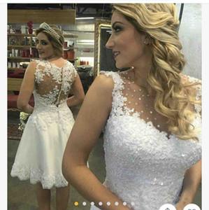 2020 casamento branco vestidos curtos Jewel Neck A Linha de Tulle Applique Lace Vestidos de casamento Plus Size País Mini Praia vestido de noiva