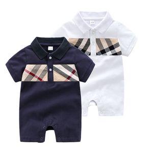 INS Hot Fashion Brand Baby Vestiti Plaid Pagliaccetto Body Outfit Pure Cottone Pure Cotton Neonato Summer Manica Corta Romper Bambini Designer Infant Tuta