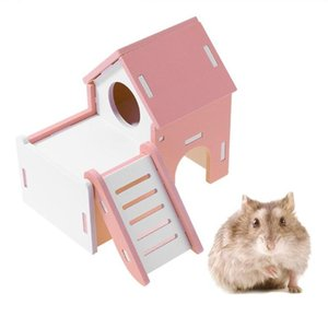 Cages Cute Wood Hamster House Viewing Deck Ladder Hamster House Small Pets Rat Mouse Hut Nest Pet Sleeping Log Cabin Animal Pet Nest