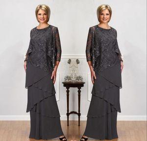 Gelin Modelleri ile Uzun Kollu Ceket Mücevher Boyun payetli Abiye Giyim Kat Uzunluk Wedding Parti Elbise Of Grey Dantel Anne