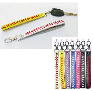 스포츠 재봉선 레이스 가죽 열쇠 고리 헤링본 소프트볼 야구 빠른 피치 야구 스티치 키 체인 가방 액세서리 20PCS LJJO4481