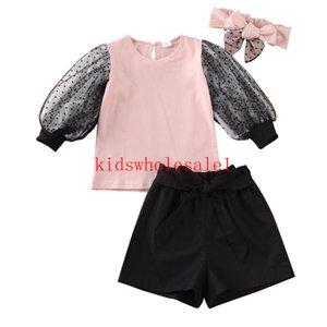 2020 Bebek Bebek Kız Çocuk Giyim 1-6Y Dantel Kol Şort Kafa Kıyafetler Giyim 3PCS Tops ayarlar