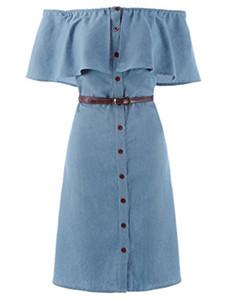 Kate Kasin Женские джинсы с открытыми плечами Джинсовые рубашки Платья с поясом