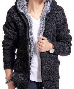 Quente frete grátis Grosso Velvet Cashmere Men Inverno Cardigan zipper Tops Homem ocasional tamanho camisola Hoodies Knitwear Big 5 cores