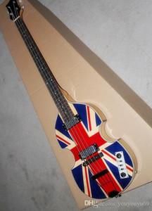 padrão de bandeira a guitarra baixa elétrica, faixa de mogno, corpo oco, serviço personalizado de 4 cordas