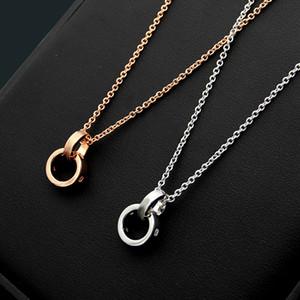 여성의 매력 부부 사랑 목걸이를위한 럭셔리 패션 브랜드 2019 새로운 티타늄 스틸 도매 B 문자를 두 번 링 다이아몬드 목걸이