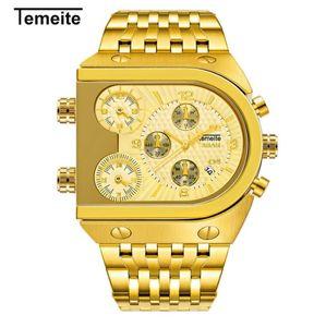 أعلى أزياء الرجال 3 مرات منطقة تصميم الكوارتز ساعات رجال الأعمال العسكرية ساعة اليد الذهب الذكور ساحة الفولاذ المقاوم للصدأ ساعة