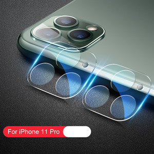 3D Full Coverage HD Trasparente trasparente antigraffio Posteriore Camera Lens Protector Vetro Temperato con Flash cerchio per iPhone 11 Pro Max