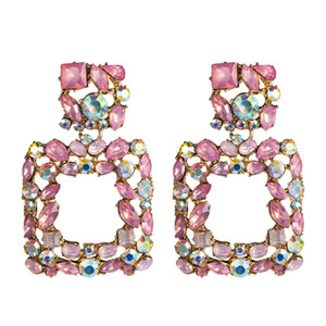 Square Summer earrings for women 2019 big fashion Pink statement earrings large rhinestone Geometric Fashion Jewellery