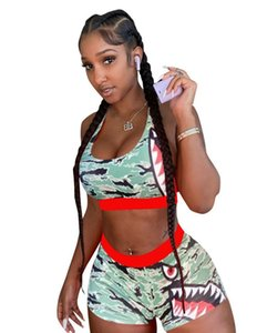 Women fashion summer beach set 2 pieces print tank top and shorts suit female two pieces clothes set
