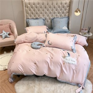 Stars moon embroidery Bedding Set King Queen Size 4 7pcs egyptian cotton Bed Linen Duvet Cover Bed Sheet Pillowcases for girls T200706
