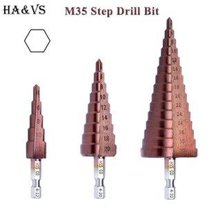 M35 5% de cobalt HSS étape Mèche HSS CO haut débit en acier rainure droite Hex Shank Drill Bits Jeu d'outils en métal