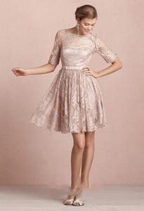 Country Style 2020 mais novo Rosa Lace Curto Vestidos dama de honra para casamentos baratos Jewel Backless joelho Casual