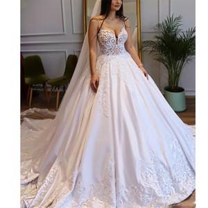 Spaghetti Strap Princess Chapel Wedding Dresses Lace Appliques with Pearls Satin Bridal Gown Court Train Vestidos de Noivas Plus Size