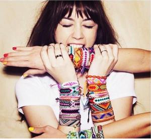 1шт цветастый очаровывает браслет Friendship ручной плетеный шнур Хлопок сплетенный Женщины Мужчины Бич Bohemian Непал Этнический браслет