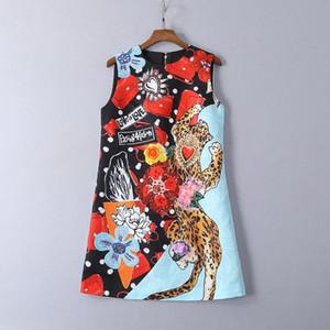 315 2019 Luxus-Designer-Damenkleider mit Rundhalsausschnitt, Pailletten, ärmellos über dem Knie-Weste-Kleid, blau