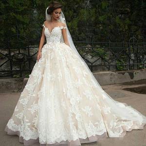 Vintage Turchia Plus Size Abito da ballo in pizzo abito da sposa Abiti da sposa 2018 Off Spalla Principessa Libano Illusion Arab Bride