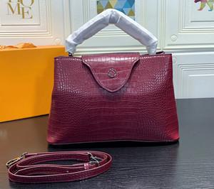 Большие 32CM CAPUCINES BB Роскошные сумки высокого качества из кожи аллигатора Дизайнерская сумка Стильная женская большая сумка 48868