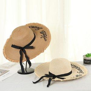 mulheres Verão grande sol aba do chapéu chapéu Faixa bowknot Carta bordados Straw cap Floppy Sunscreen Panamá para férias de praia