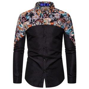 Paisley Patchwork Ethnic Print-Shirt Männer Slim Fit zufälligen Männer Button-Down-Kleid Shirts Business Social Shirt Mann XXL