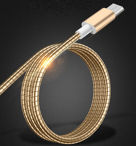 El acero inoxidable de resorte elástico 1 metro 2A carga rápida cable USB micro para Samsung androide V8 tipo-c