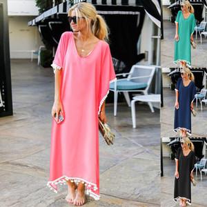 Womens playa de la borla de la blusa del vestido de la falda larga suéter flojo Solid Crew Neck camiseta de color vestidos de Mujer Ropa
