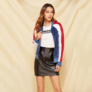 Mulheres Designer Plush Jacket Meninas Luxo Casual Contraste Brasão Youth Cor marca de roupa das mulheres casacos de moda 2020 Hot Sale Top Quanlity