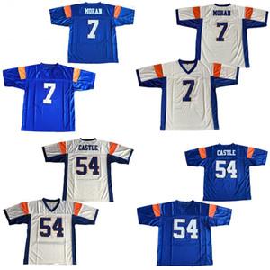 7 Alex Moran Blue Mountain State 54 Thad Castle Football Jersey Blue White Walive Football Jersey Бесплатная доставка