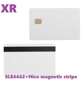 Valores ! FLE 4442 FIP con HICO Stripe Magnético Contacto IC Tarjeta 2 en 1 PVC en blanco Tarjetas IC