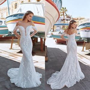 2020 Пляж Sexy Sheer Иллюзия длинные рукава Свадебные платья See Through Jewel шеи Русалка Backless плюс размер свадебные платья