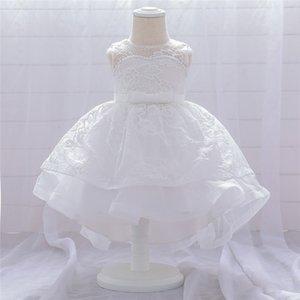 Платья девушки милые девочка платье элегантный вышитый цветок жемчужина принцесса детская одежда сотен день банкетный вечеринка пачка