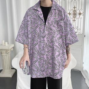 2020 Summer New Youth Popular Men's English Printed Loose Five-point Sleeve Shirt Fashion Casual Shirt Jacket Purple M-2XL