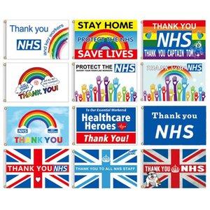 18 nuove bandiere del Regno Unito Thank You NHS 90 x 150cm NHS bandiera 2020 allievo bandiera di partito giardino di casa bandierina bandierine decorative T3I5760