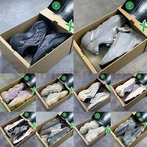 Kutu Azael Alvah Glow 700 v3 Yansıtıcı Kanye West Mıknatıs Teal Hastanesi Blue Wave Runner Basamak Ayakkabı Keten 500 Allık Kemik Sneaker ile