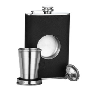 Stainless Steel 8 oz Hip Flask Built-in Collapsible 2 Oz Shot Glass Flask Funnel - Everything You Need to Pour Shots on the Go