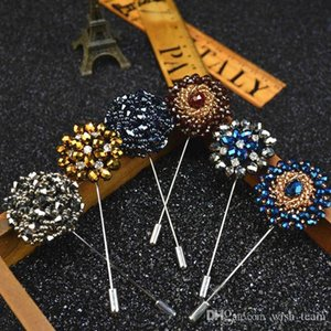 Fashion Daisy Flower Lapel Pins, Beaded Floral Men Lapel Pin, Crystal Men Brooch for Suits Handmade Stick Brooch Pins 15 Colors