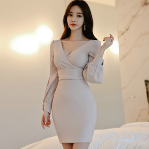 Spring Long Sleeved Solid High Waist V-Neck Solid Mini Bodycon Sexy Slim Women's Brief Dress