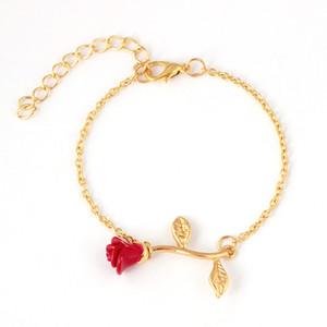 New Elegant Red Rose Flower Pattern Charming Link Bracelet For Women 3 Colors Fashion Adjustable Chain Bracelet Jewelry Gift