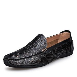 Echtes Leder Krokodilleder Loafer Schuhe Herren Slip-on Mokassins Handmade Man Oxford Freizeitschuhe Laufwerk-Weg Luxus Freizeit