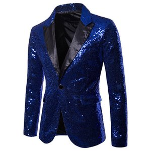 Nouveau Hommes élégant d'or Colorisation Double-Color Paillettes Bar Blazer Discothèque Bling scène Chanteur Costume de mariage Groom Veste de costume